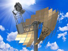 Directional antenna solar panels against a bright sunny sky with clouds Stock Photos