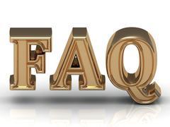 FAQ Inscription golden letter on white background Stock Illustration