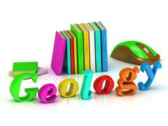 Geology 3d inscription bright volume letter and textbooks and computer mouse  Stock Illustration