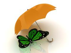 Green butterfly sits under an orange umbrella on a white background Stock Illustration