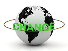 Green CHANGE on a gold ring around the earth. Image from the same footage Stock Illustration