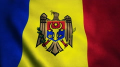 Realistic Ultra-HD flag of the Moldova waving in the wind. Seamless loop with Stock Footage