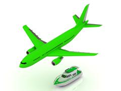 Green turbo passenger airliner gains altitude and Green motorized pleasure tu Stock Illustration