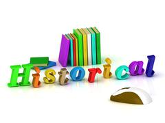 Historical 3d inscription bright volume letter and textbooks and computer mou Stock Illustration