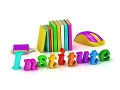 Institute 3d inscription bright volume letter and textbooks on white backgrou Stock Illustration