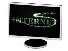 INTERNET- 3d inscription with luminous line with spark on contrasting backgro Stock Illustration