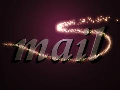 Mail 3d inscription with luminous line with spark on contrasting background Piirros