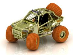 Mini ATV buggy golden color with orange wheels Stock Illustration