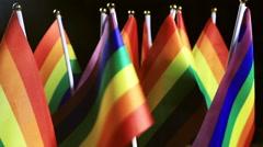 LGBT rainbow small flags Stock Footage