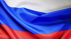 Russian flag in background Stock Footage