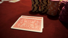 Poker chips and ace/king. Stock Footage