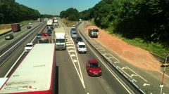 Traffic jam at the M1 M45 motorway junction. Stock Footage