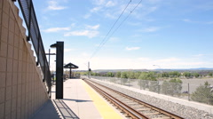 View of the County Line light rail station. Stock Footage