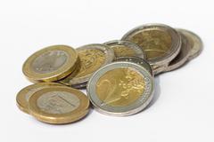 money - pile of euro coins on white background - stock photo