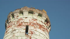 Old castle tower leaned at the gate Stock Footage