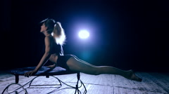 Graceful flexible performer woman doing artistic contortion Stock Footage