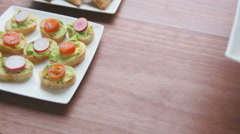 Serving Healthy Hummus Appetizers Stock Footage