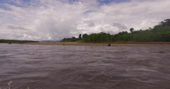 Tambopata River In Peru, filming on boat Stock Footage