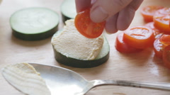 Preparing Healthy Hummus Appetizer Stock Footage