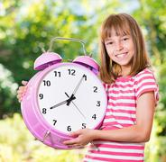 Girl back to school - stock photo