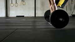 Closeup of athlete doing deadlift weightlifting exercise - stock footage