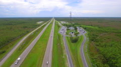 Aerial footage of I75 rest area and visitor center - stock footage