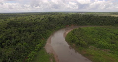 Aerial View Of Tambopata River In Peru Stock Footage