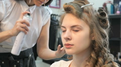 Making of hairstyle volume for the model girl Stock Footage