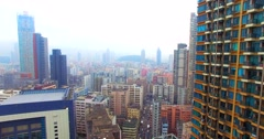 Flying among a lot of huge skyscrapers, Hong Kong, China. Stock Footage