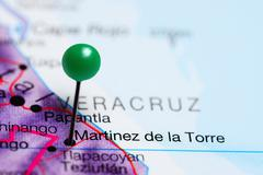Martinez de la Torre pinned on a map of Mexico Stock Photos