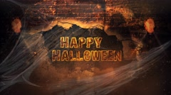 Happy Halloween Reaper Brick Explosion 4K Loop Stock Footage