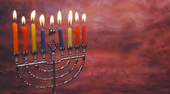 Lighting Hanukkah Candles Hanukkah celebration Stock Footage