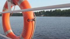 Lifebuoy River Ship Stock Footage
