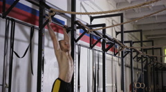 Young man doing wod, functional training fit workout at gym Stock Footage