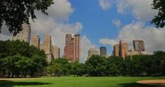 Establishing Shot Manhattan Apartment Buildings and Central Park   Stock Footage