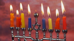 Jewish holiday hannukah symbols - menorah and wooden dreidels Stock Footage