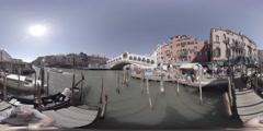 View of Rialto bridge, Venice Italy with boats and gondolas, 360 video VR Stock Footage