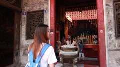 Thai adult beautiful girl travel old local City Chinese Church in bangkok Stock Footage
