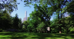 Dolly Establishing Shot of Manhattan Skyline as Seen from Central Park Stock Footage