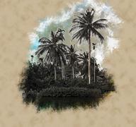 Palm trees on sea shore at beautiful sunny day - stock illustration