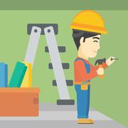 Constructor hammering nail Stock Illustration