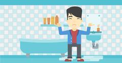 Man in despair standing near leaking sink Stock Illustration