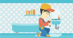Man repairing sink Stock Illustration