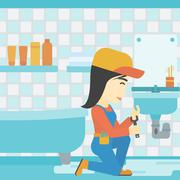 Woman repairing sink Stock Illustration