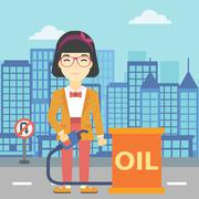 Woman with oil barrel and gas pump nozzle Piirros