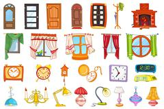 Vector set of house interior objects - stock illustration