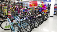 One side of bicycles low price everyday inside Walmart store Stock Footage