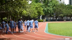 Shenzhen, China: primary school students in the physical activity class Stock Footage