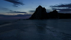 Sunrise over the island of Olkhon, Lake Baikal, Irkutsk region, Russia. Full HD Stock Footage