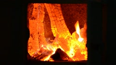 Burning Birch wood in the old stove Stock Footage